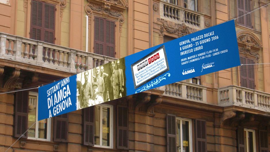 Striscione settant'anni di AMGA a Genova